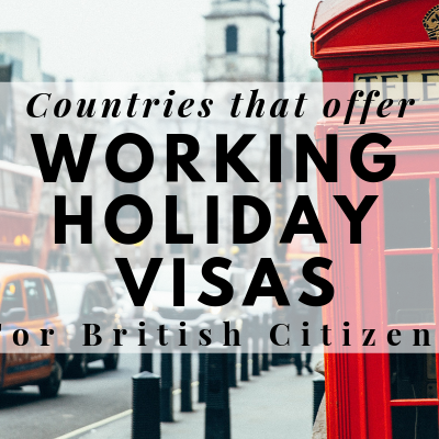 Which Countries offer Working Holiday Visas for UK Citizens